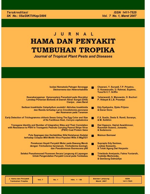 View Vol. 7 No. 1 (2007): Maret, Jurnal Hama dan Penyakit Tumbuhan Tropika