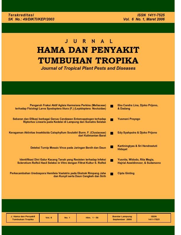 View Vol. 6 No. 1 (2006): Maret, Jurnal Hama dan Penyakit Tumbuhan Tropika