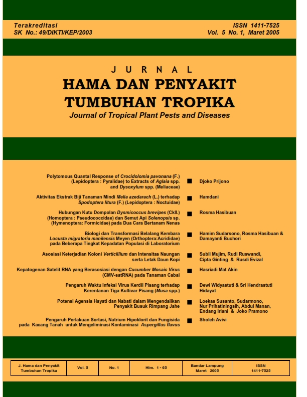 View Vol. 5 No. 1 (2005): Maret, Jurnal Hama dan Penyakit Tumbuhan Tropika