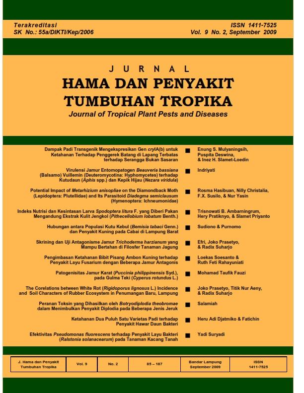 View Vol. 9 No. 2 (2009): September, Jurnal Hama dan Penyakit Tumbuhan Tropika