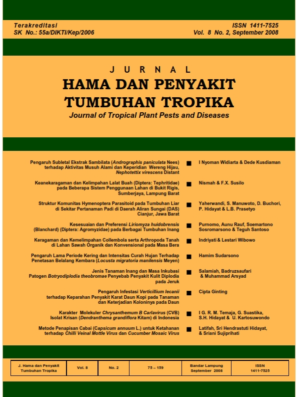 View Vol. 8 No. 2 (2008): September, Jurnal Hama dan Penyakit Tumbuhan Tropika