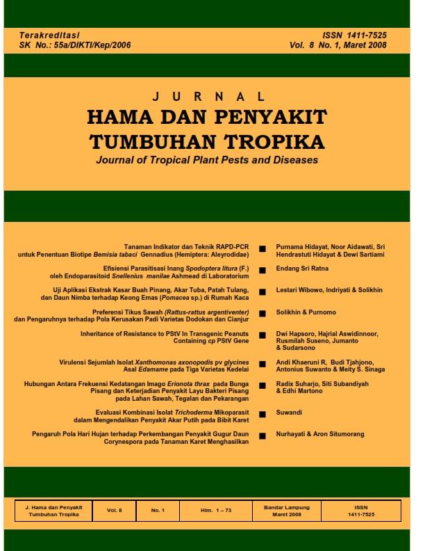 View Vol. 8 No. 1 (2008): Maret, Jurnal Hama dan Penyakit Tumbuhan Tropika