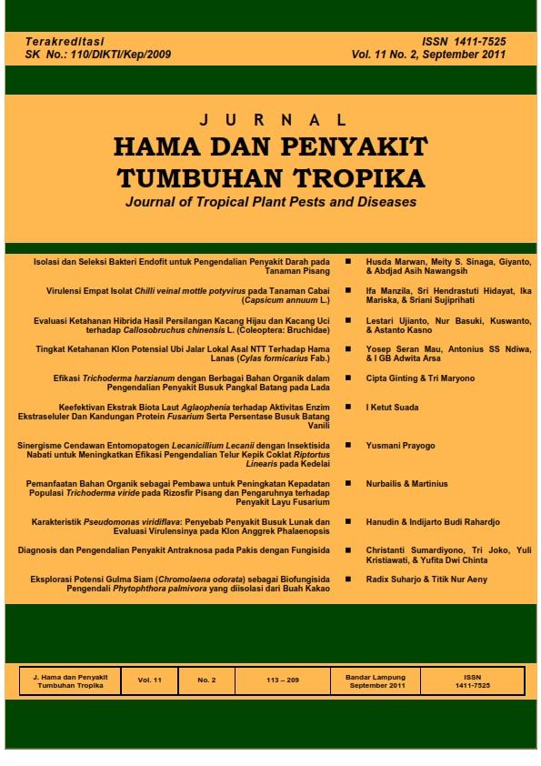View Vol. 11 No. 2 (2011): September, Jurnal Hama dan Penyakit Tumbuhan Tropika