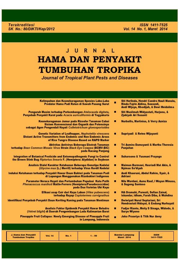 View Vol. 14 No. 1 (2014): Maret, Jurnal Hama dan Penyakit Tumbuhan Tropika