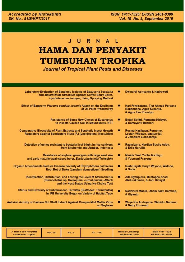 View Vol. 19 No. 2 (2019): SEPTEMBER, JURNAL HAMA DAN PENYAKIT TUMBUHAN TROPIKA