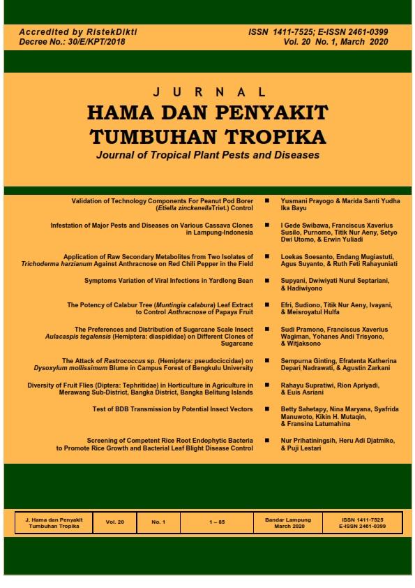 View Vol. 20 No. 1 (2020): MARCH, JURNAL HAMA DAN PENYAKIT TUMBUHAN TROPIKA
