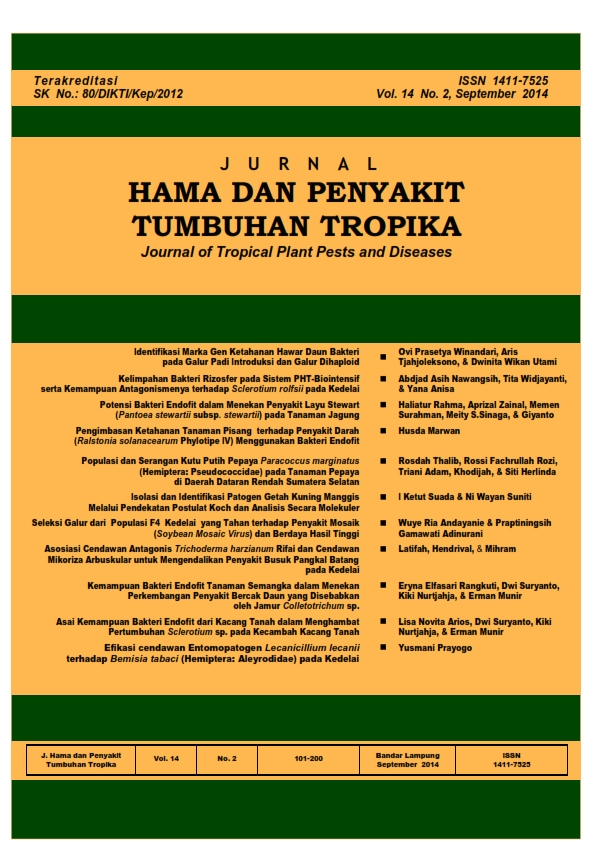 View Vol. 14 No. 2 (2014): September, Jurnal Hama dan Penyakit Tumbuhan Tropika