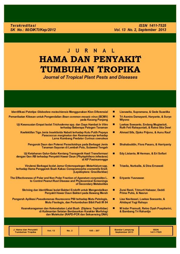 View Vol. 13 No. 2 (2013): September, Jurnal Hama dan Penyakit Tumbuhan Tropika