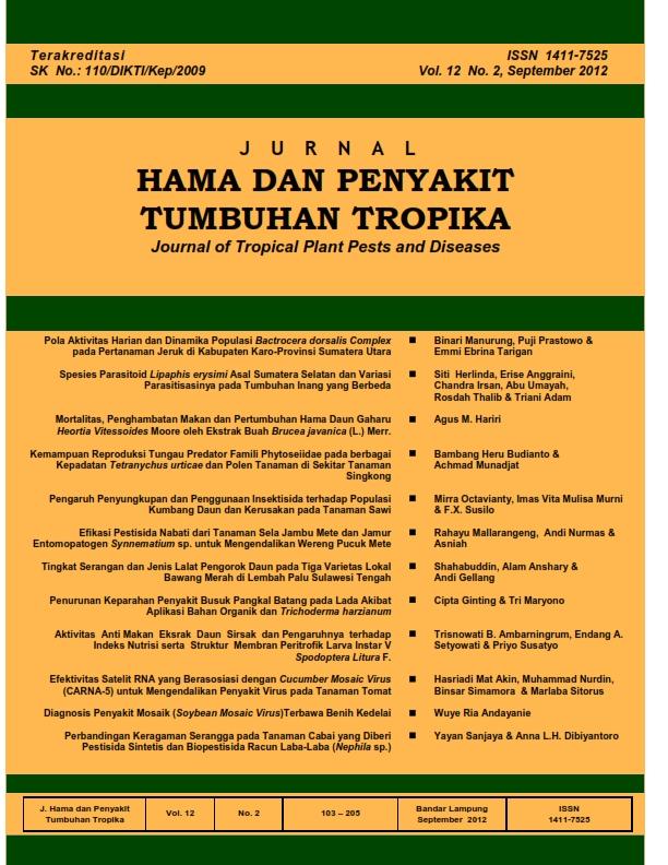 View Vol. 12 No. 2 (2012): September, Jurnal Hama dan Penyakit Tumbuhan Tropika